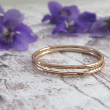 Skinny hammered band ring - 9ct rose gold
