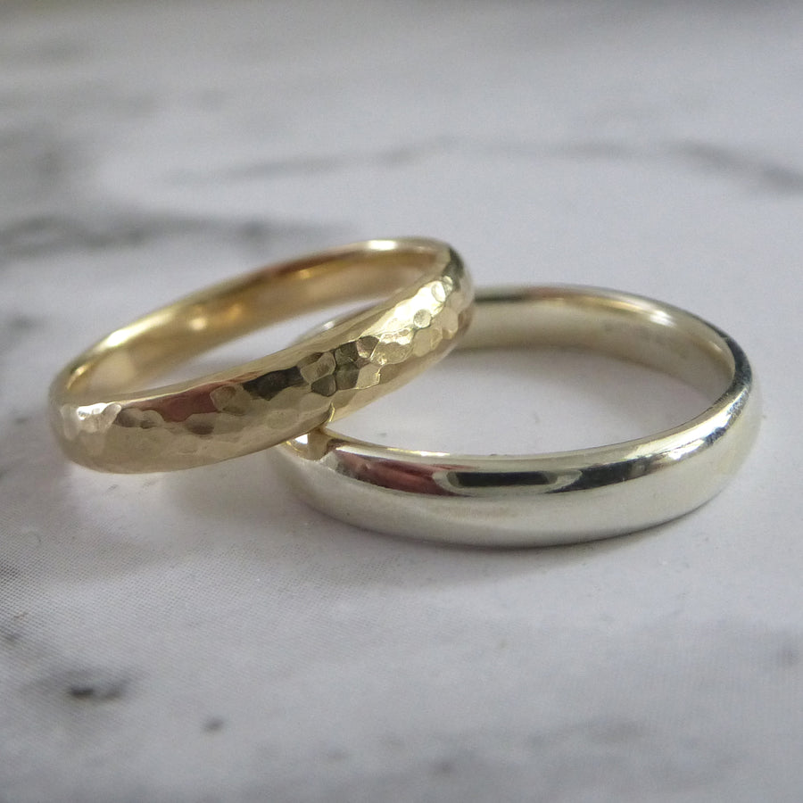 Slim Band Ring in 9ct Gold - 9ct white - 3mm - Hammered or Smooth
