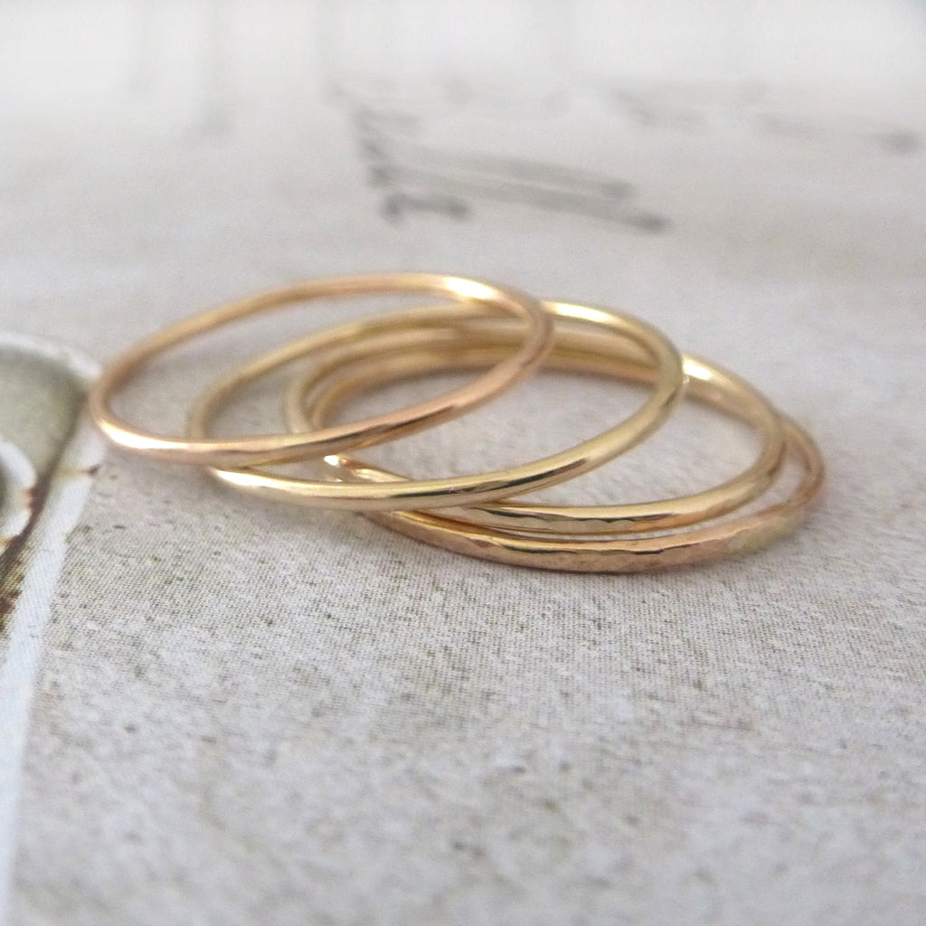 Skinny Band Rings - 9ct Gold - Set of 5