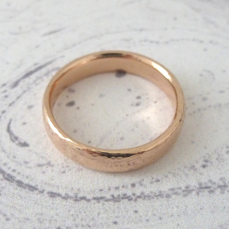 Slim Band Ring in 9ct Gold - 9ct rose - 4mm - Hammered or Smooth