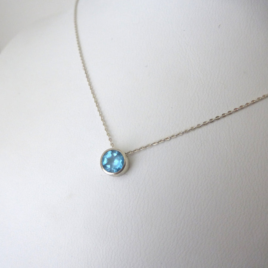 Swiss Blue Topaz and Sterling Silver Solitaire Necklace