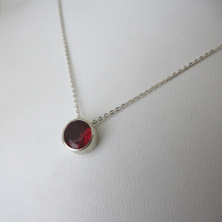 Garnet and Sterling Silver Solitaire Necklace