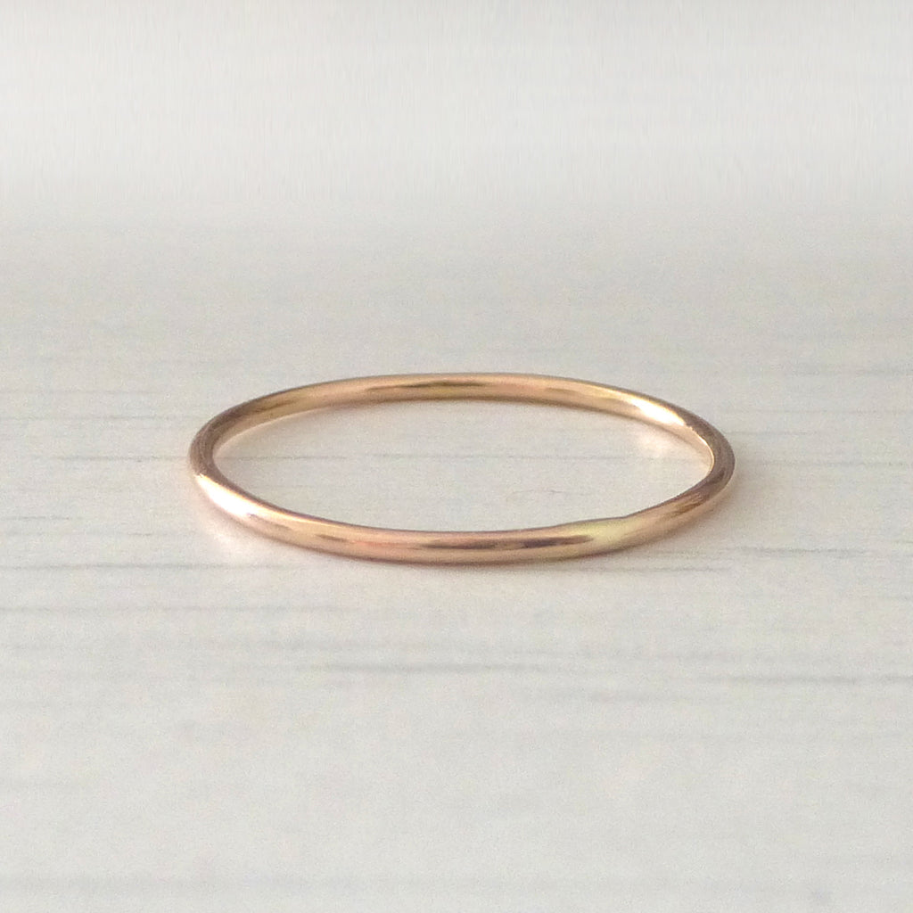 Skinny smooth band ring - 9ct rose gold