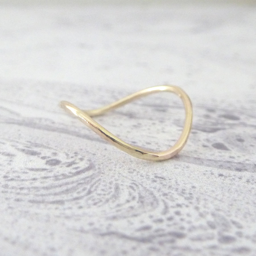 Skinny Rocking Wishbone 9ct Yellow Gold Ring