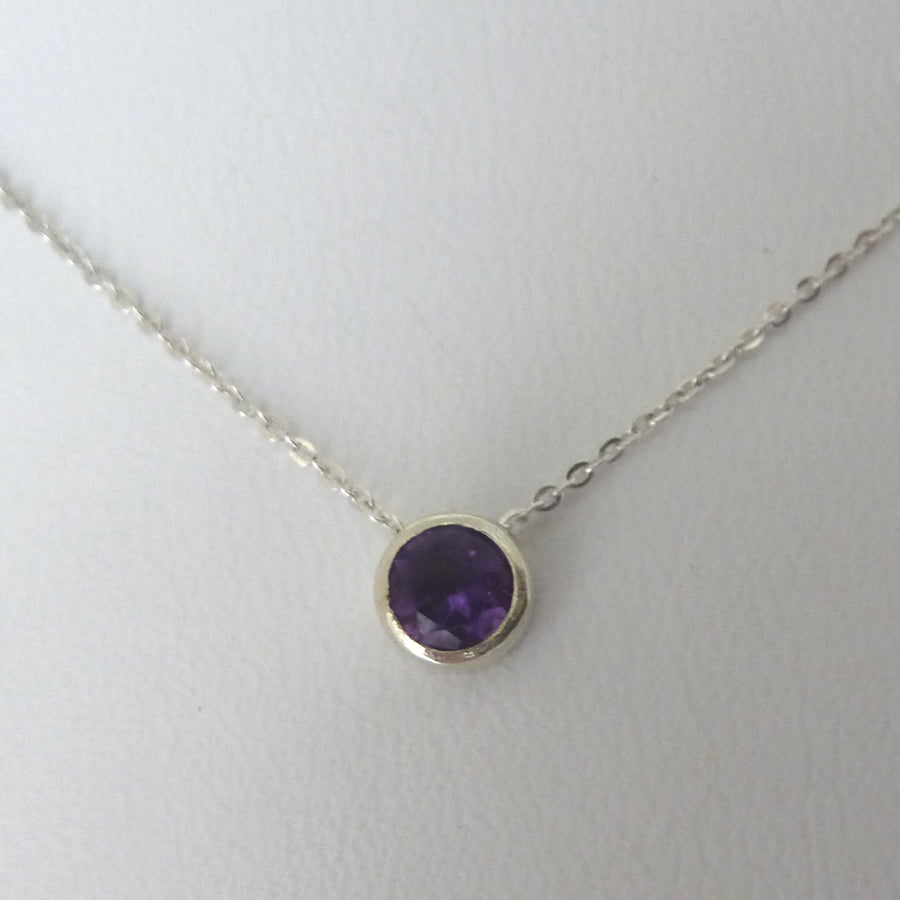 Amethyst and Sterling Silver Solitaire Necklace