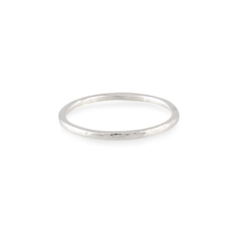 Simple hammered band ring in sterling silver