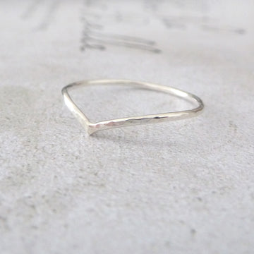 Skinny Holly Wishbone Sterling Silver Ring