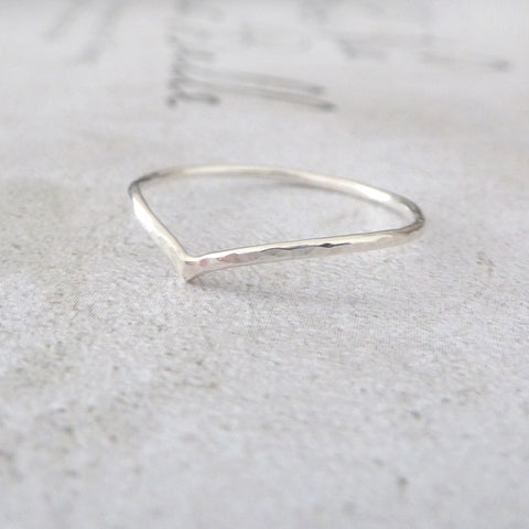 Holly Wishbone Sterling Silver Ring
