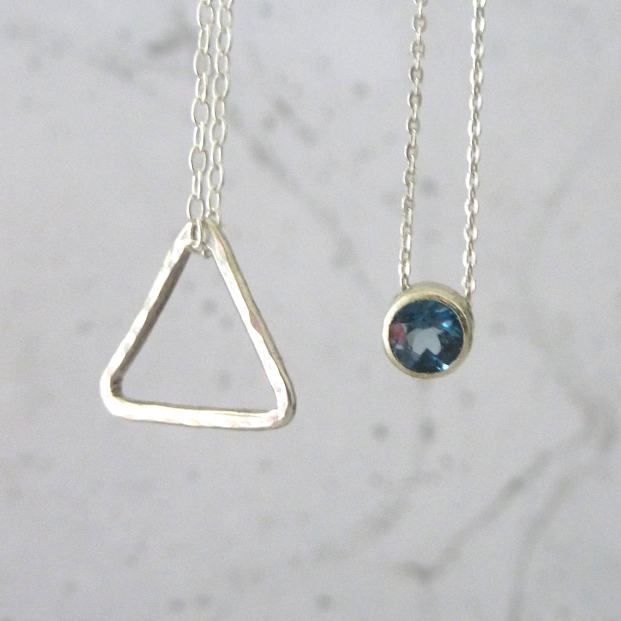 London Blue Topaz and Sterling Silver Solitaire Necklace