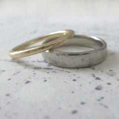 Slim Band Ring in Palladium - 4mm - Hammered or Smooth