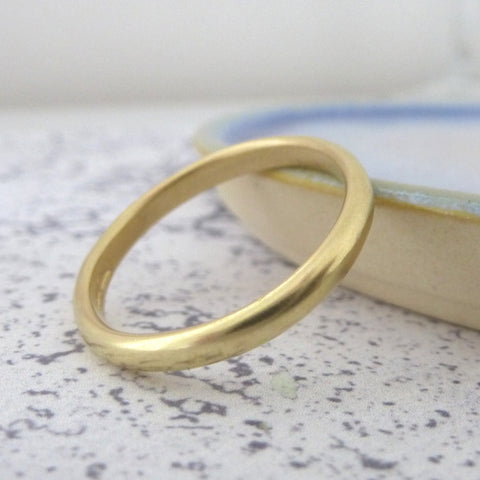 Handmade Court Ring in 18ct Yellow Gold - 3mm - Hammered or Smooth