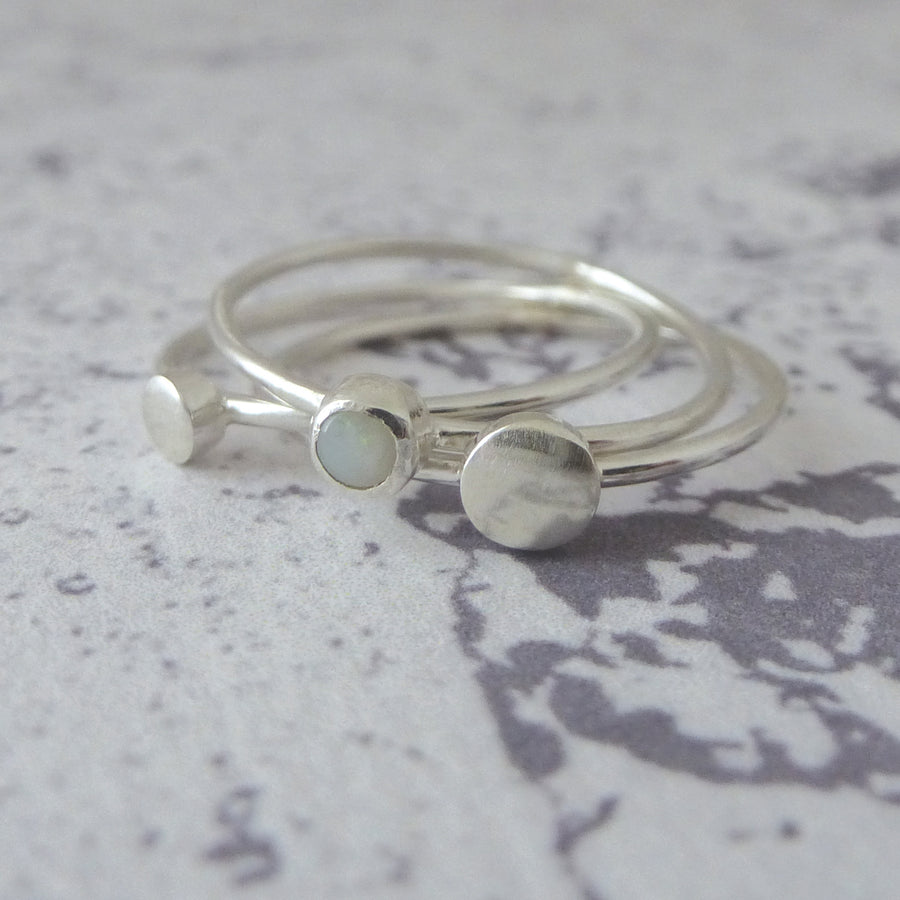 Orbit Sterling Silver Rings - Set of 3 - Milky Opal