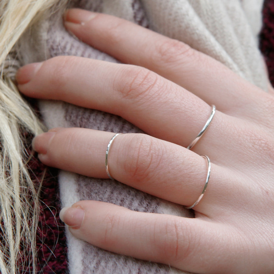 Skinny Hammered Band Ring - Sterling silver