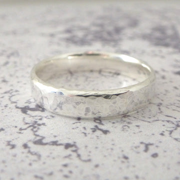 Hand Shaped Band Ring in Sterling Silver - 5mm - Hammered or Smooth