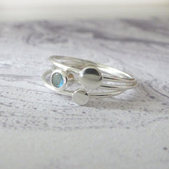 Orbit Sterling Silver Ring - Stone Set Faceted - Labradorite