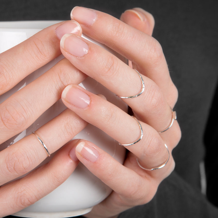 Skinny Rocking Wishbone Sterling Silver Midi Ring