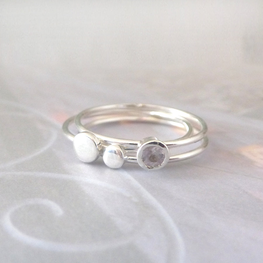 Orbit Sterling Silver Rings - Set of 3 - White Sapphire
