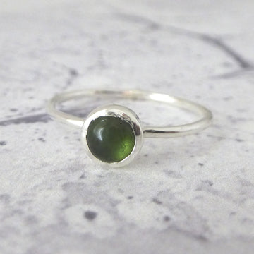 Green Tourmaline ring - sterling silver