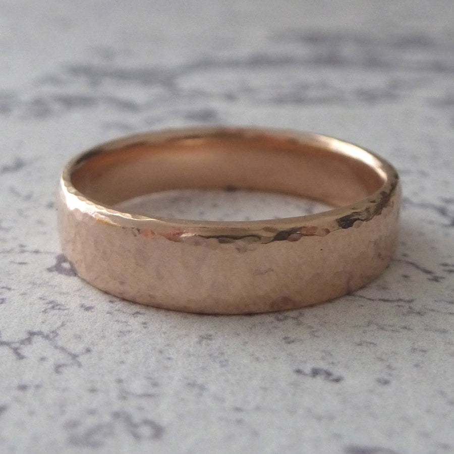 Slim Band Ring in 9ct Gold - 9ct rose - 5mm - Hammered or Smooth