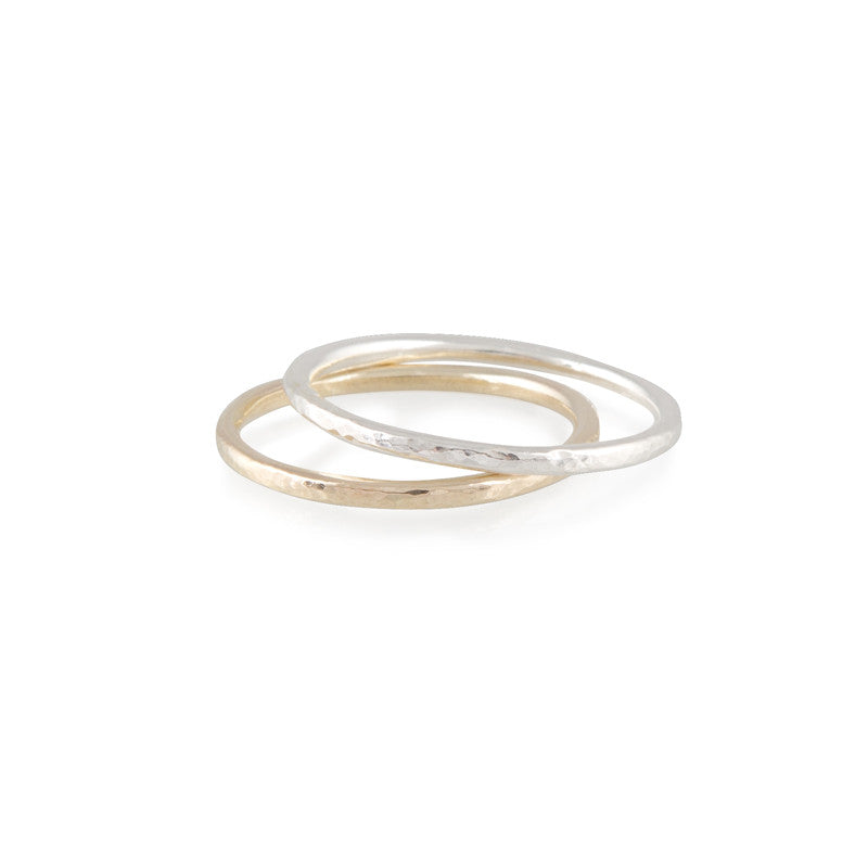 simple hammered band rings in silver and gold