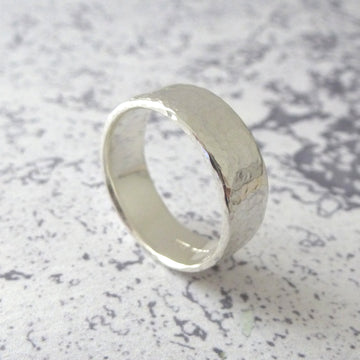 Hand Shaped Band Ring in Sterling Silver - 6mm - Hammered or Smooth