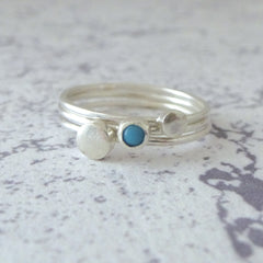Orbit Sterling Silver Rings - Set of 3 - Turquoise