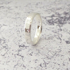 Slim Band Ring in Sterling Silver - 5mm - Hammered or Smooth