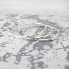 Skinny Band Rings - Sterling silver - Set of 5
