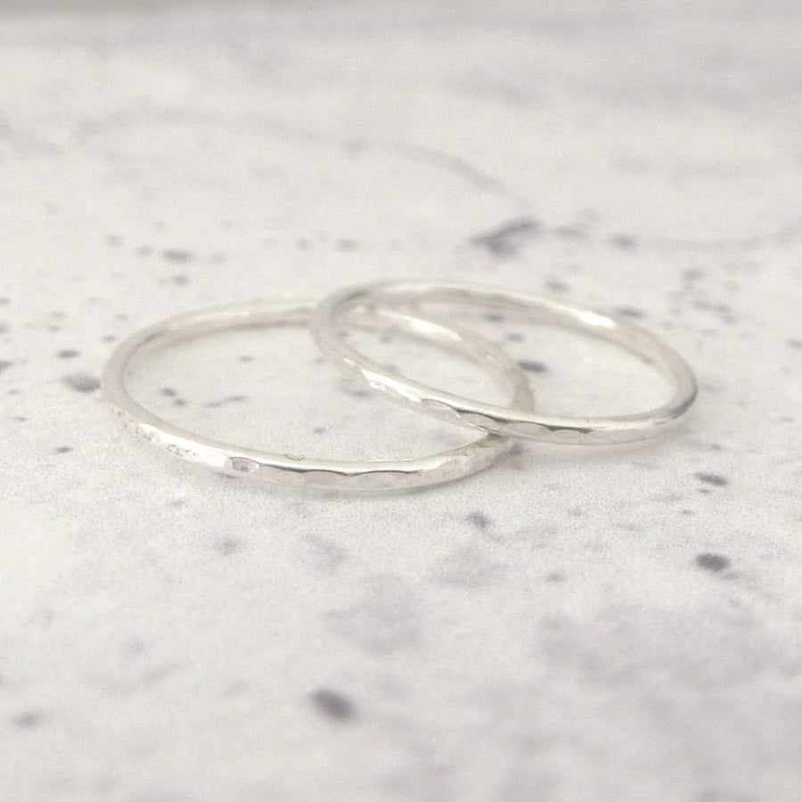 Skinny Band Rings - Sterling silver - Set of 3