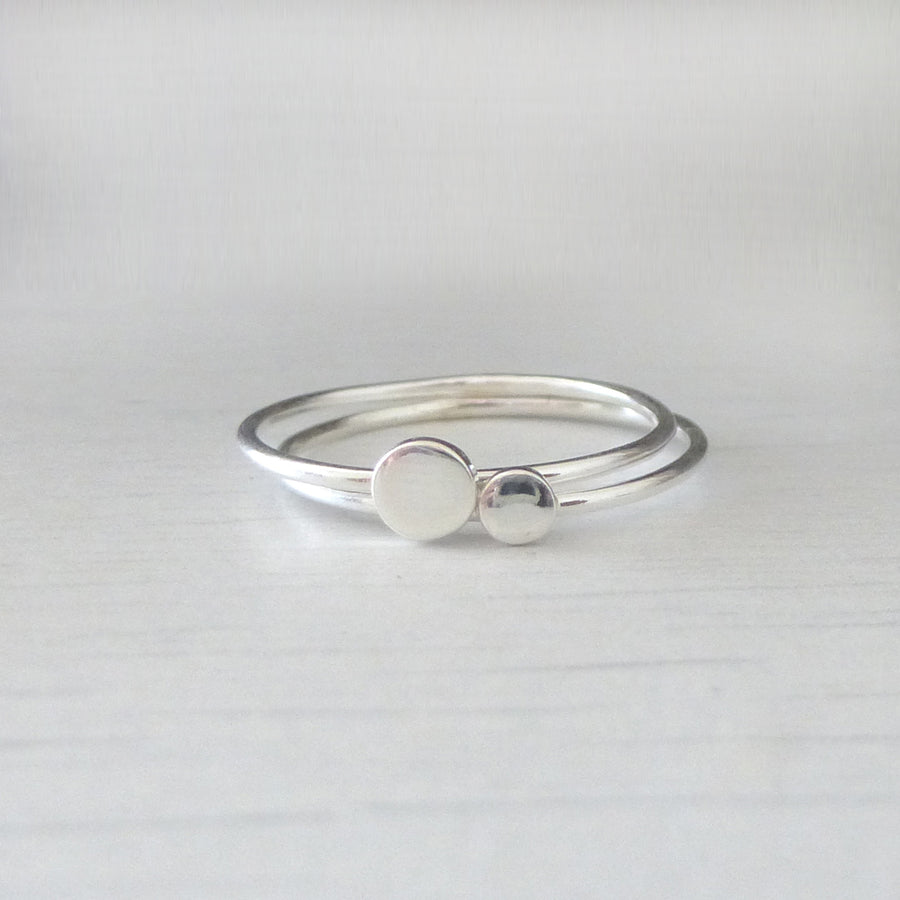Orbit Sterling Silver Rings - set of 2