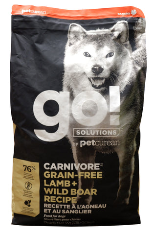 Go! Solutions Carnivore Grain Free Lamb and Wild Boar Recipe Dry Dog Food 22lbs