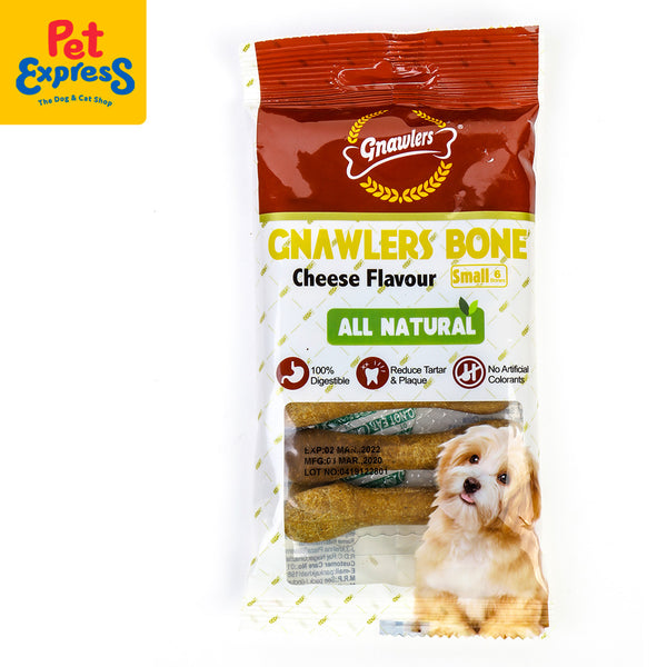 Gnawlers Bone Dog Snacks Cheese Flavour 6's 108g