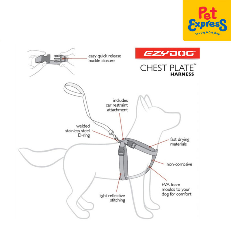 Ezydog Chestplate Harness Medium Black