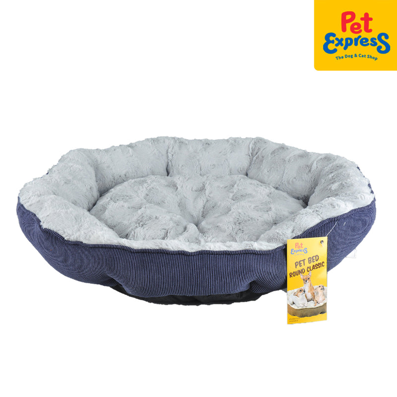 Pet Bed Round Classic Large Blue 60x58x15cm