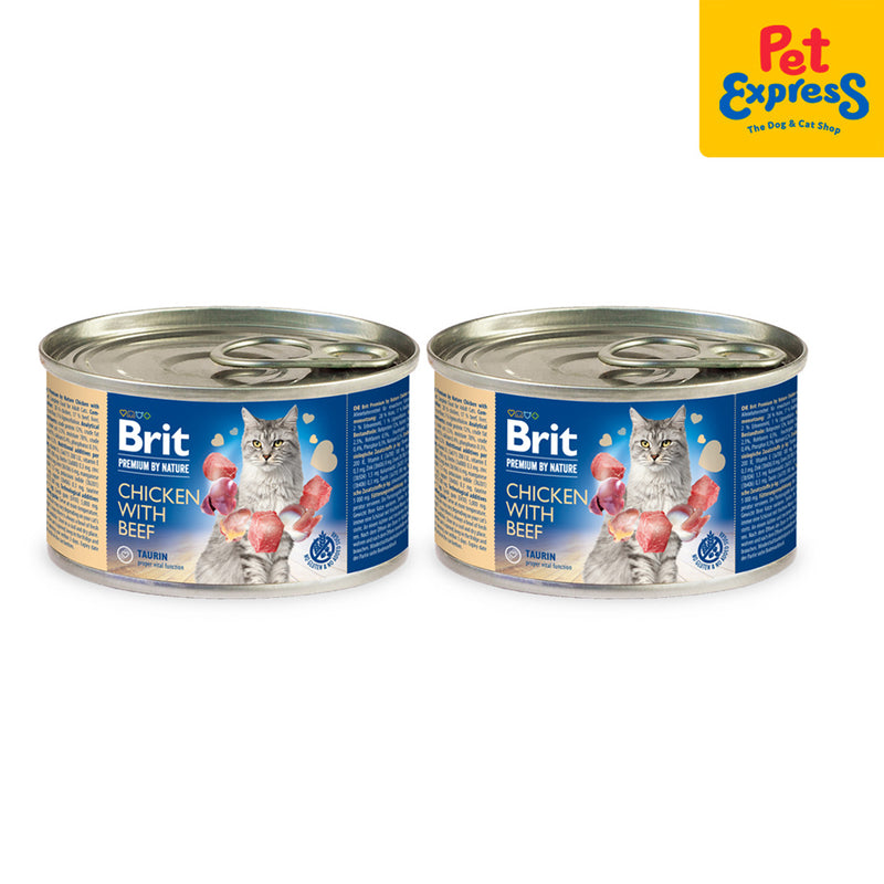 Brit Premium By Nature Chicken with Beef Wet Cat Food 200g (2 cans)