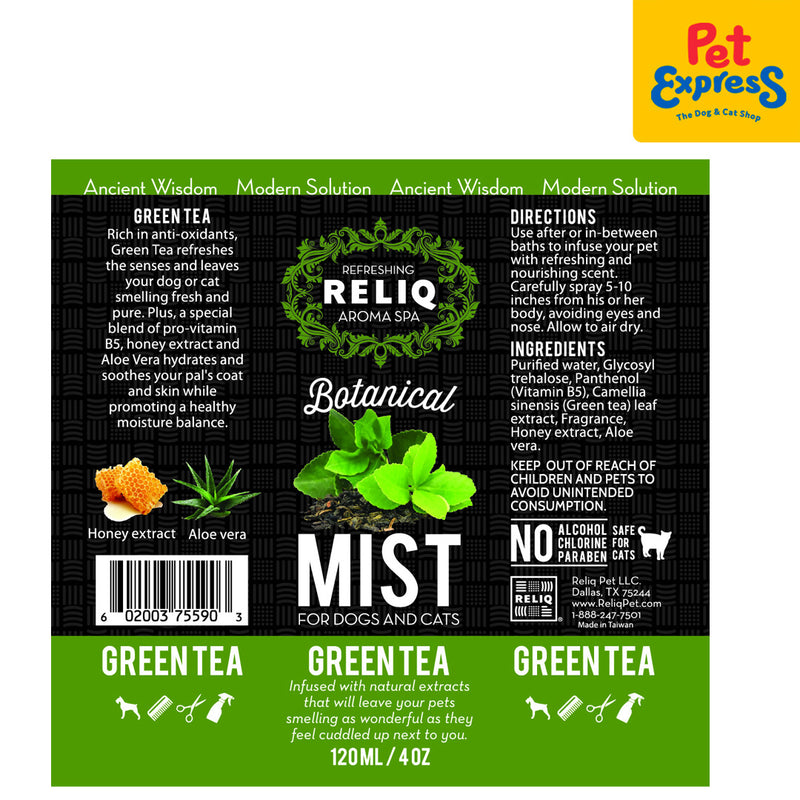 Reliq Botanical Mist Green Tea 120ml