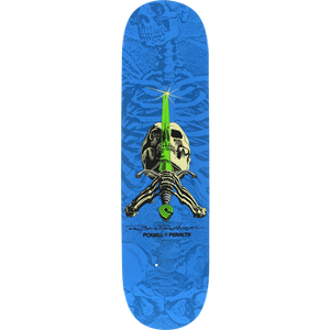 "Powell Peralta Rodriguez Skull and Sword Blue/Lime 8.0"" Deck"