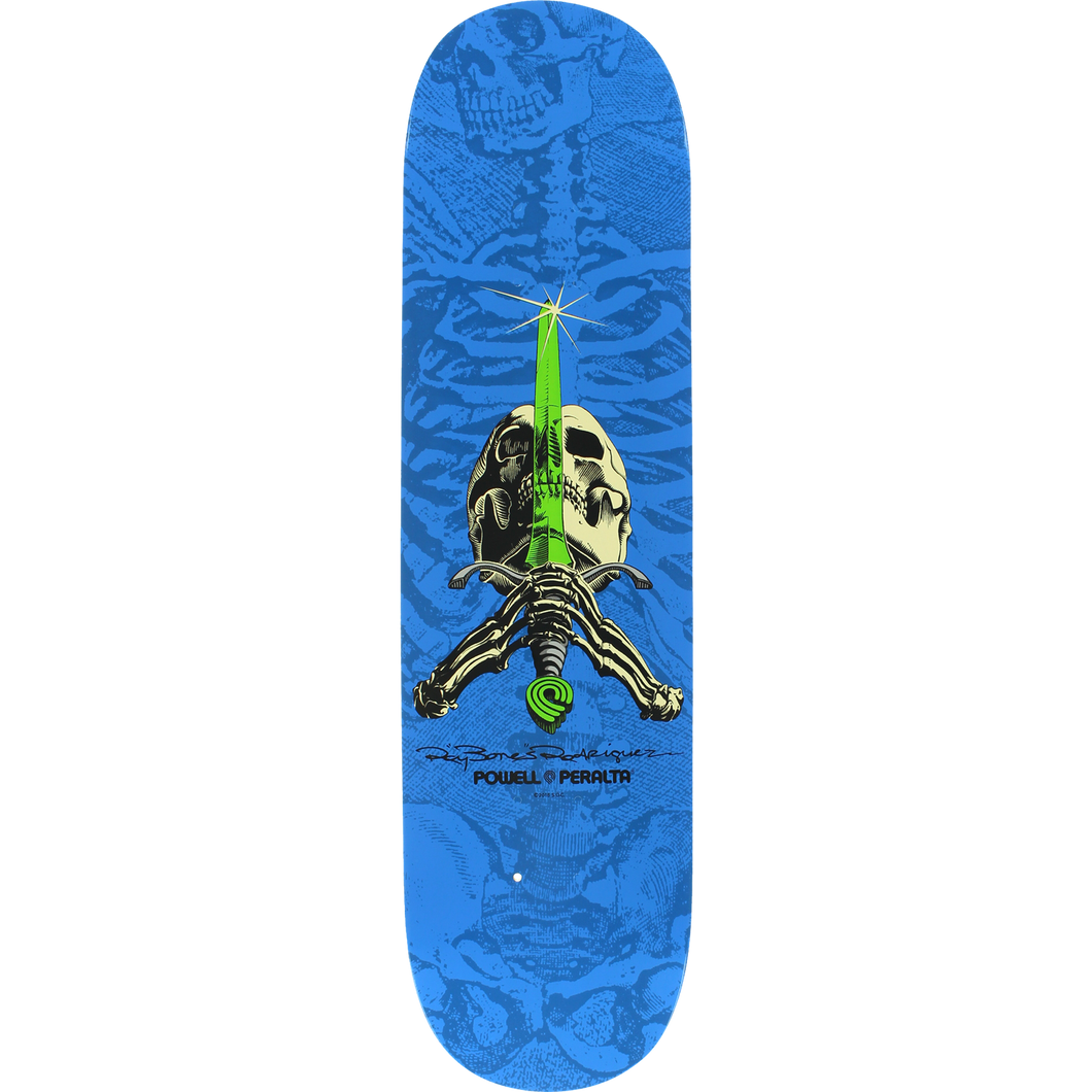 Powell Peralta Rodriguez Skull and Sword Blue/Lime 8.0