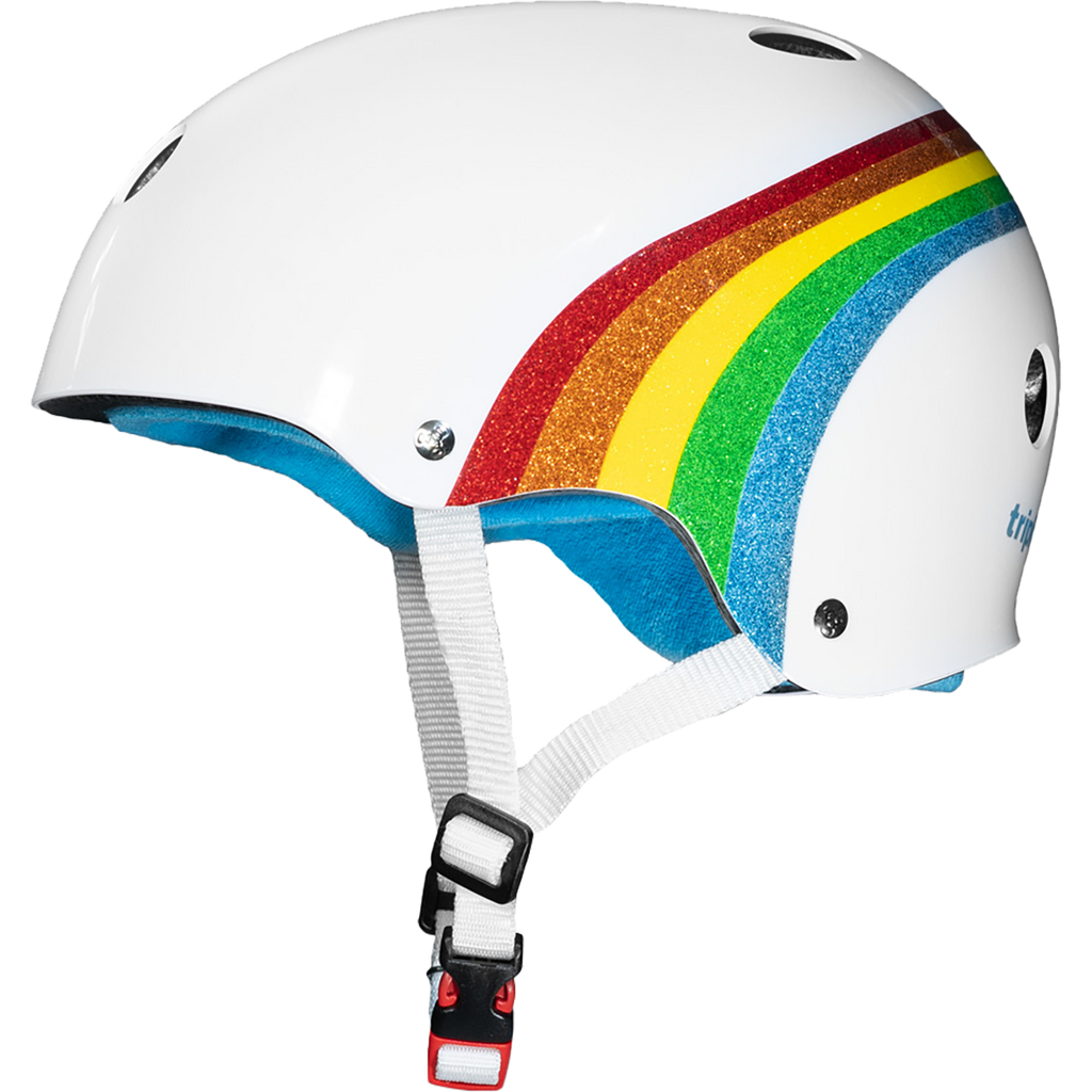 Triple Eight Sweatsaver Color Collection White Rainbow Sparkle Helmet
