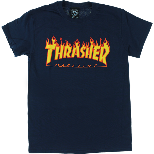 Thrasher Short-Sleeve Flame Logo Tee (Navy)