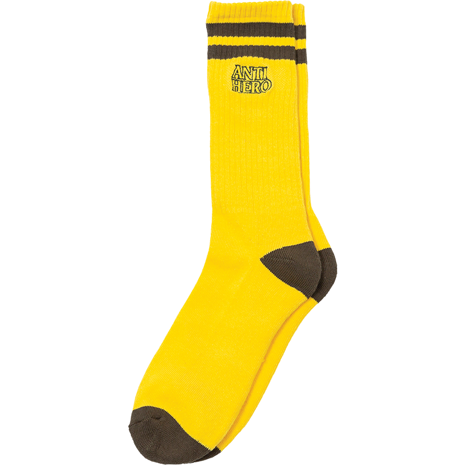 Anti Hero Black Hero Outline Yellow / Brown Crew Socks