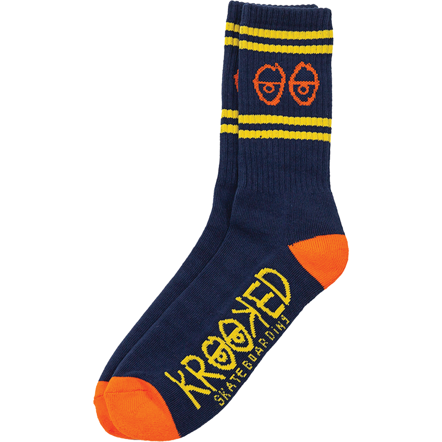 Krooked Eyes Navy / Yellow / Orange Crew Socks