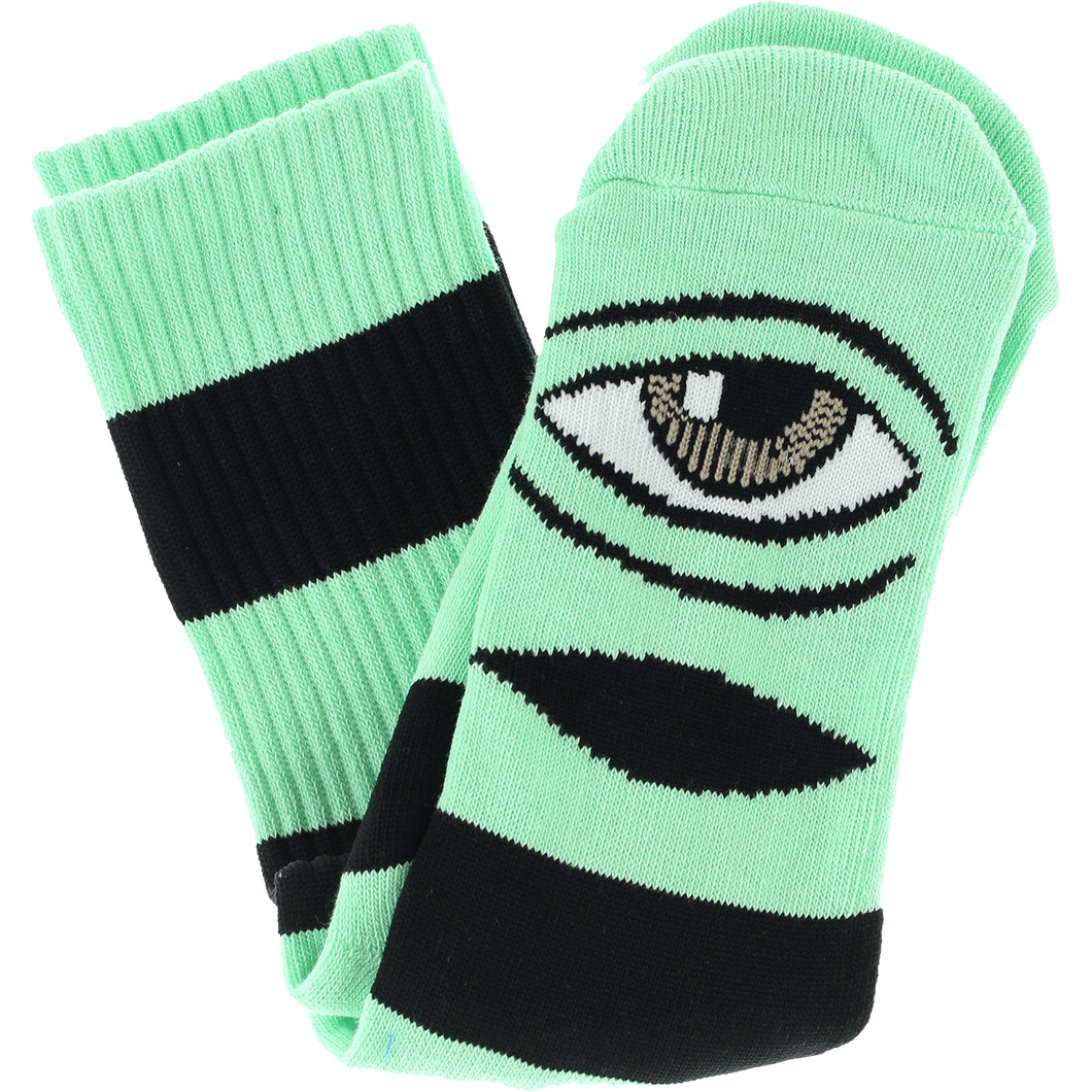 Toy Machine Sect Eye Big Stripe Crew Socks (Mint)