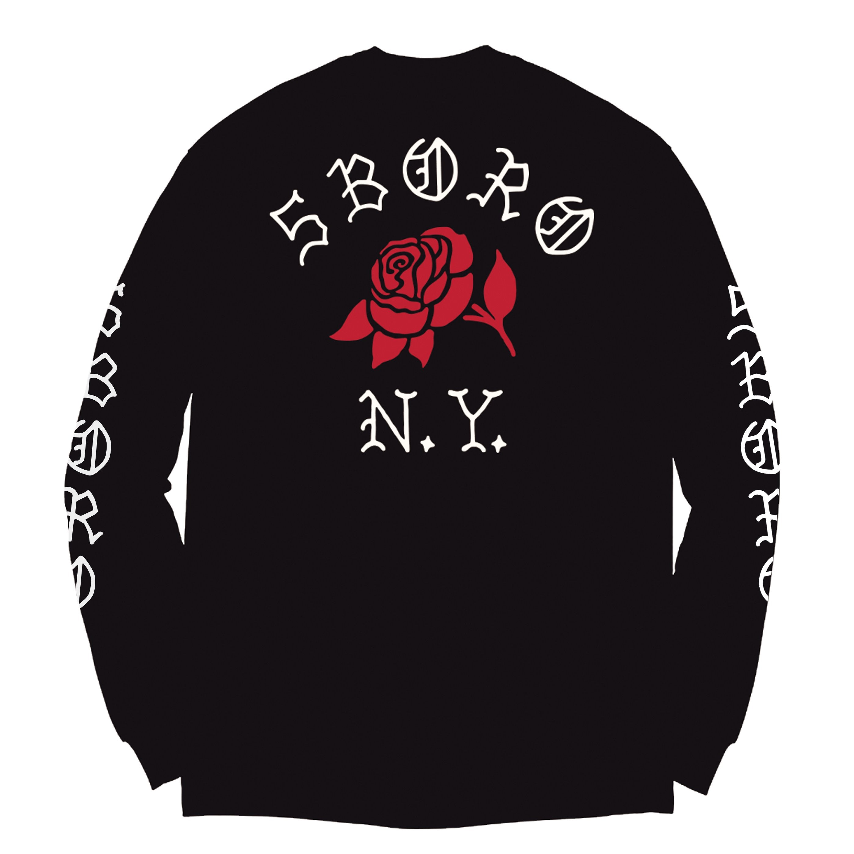 5Boro Rose L/S Black Tee