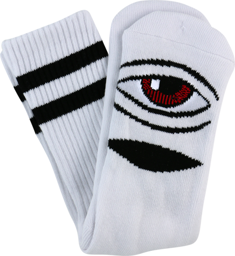 Toy Machine Sect Eye III Crew Socks White