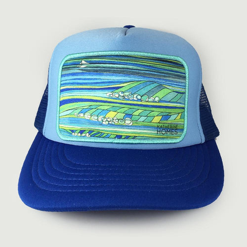 Katherine Homes Ocean Blue Patch Trucker Hat