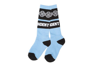 Independent Woven Crosses Youth Powder Blue Crew Socks