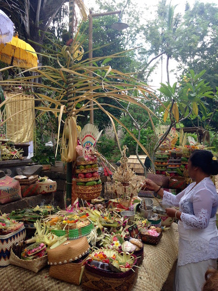 Offerings for Saraswati day in Bali