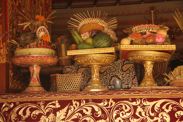 Balinese offerings of fruit and food