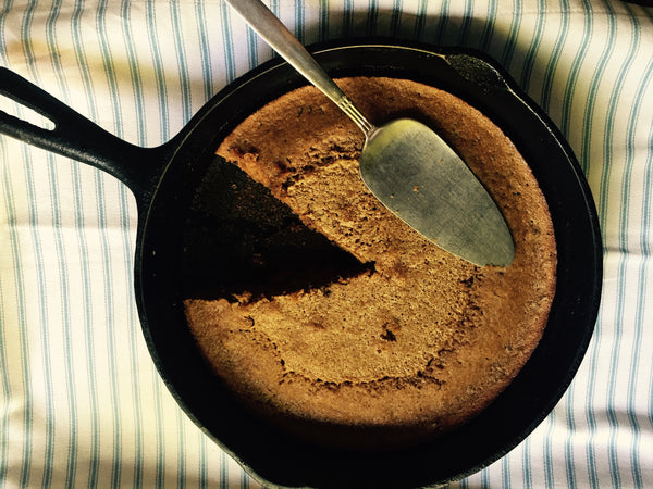 Cacao nibs skillet cake